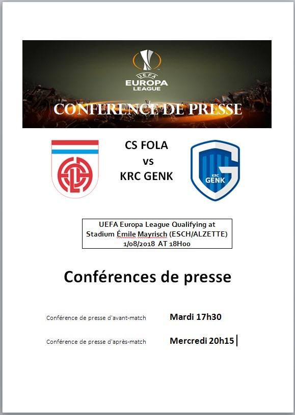 Conférences de presse FOLA_Europa-GENK