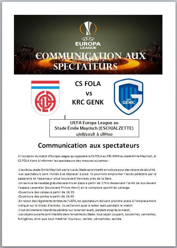 Communication spectateurs CS Fola vs KRC Genk