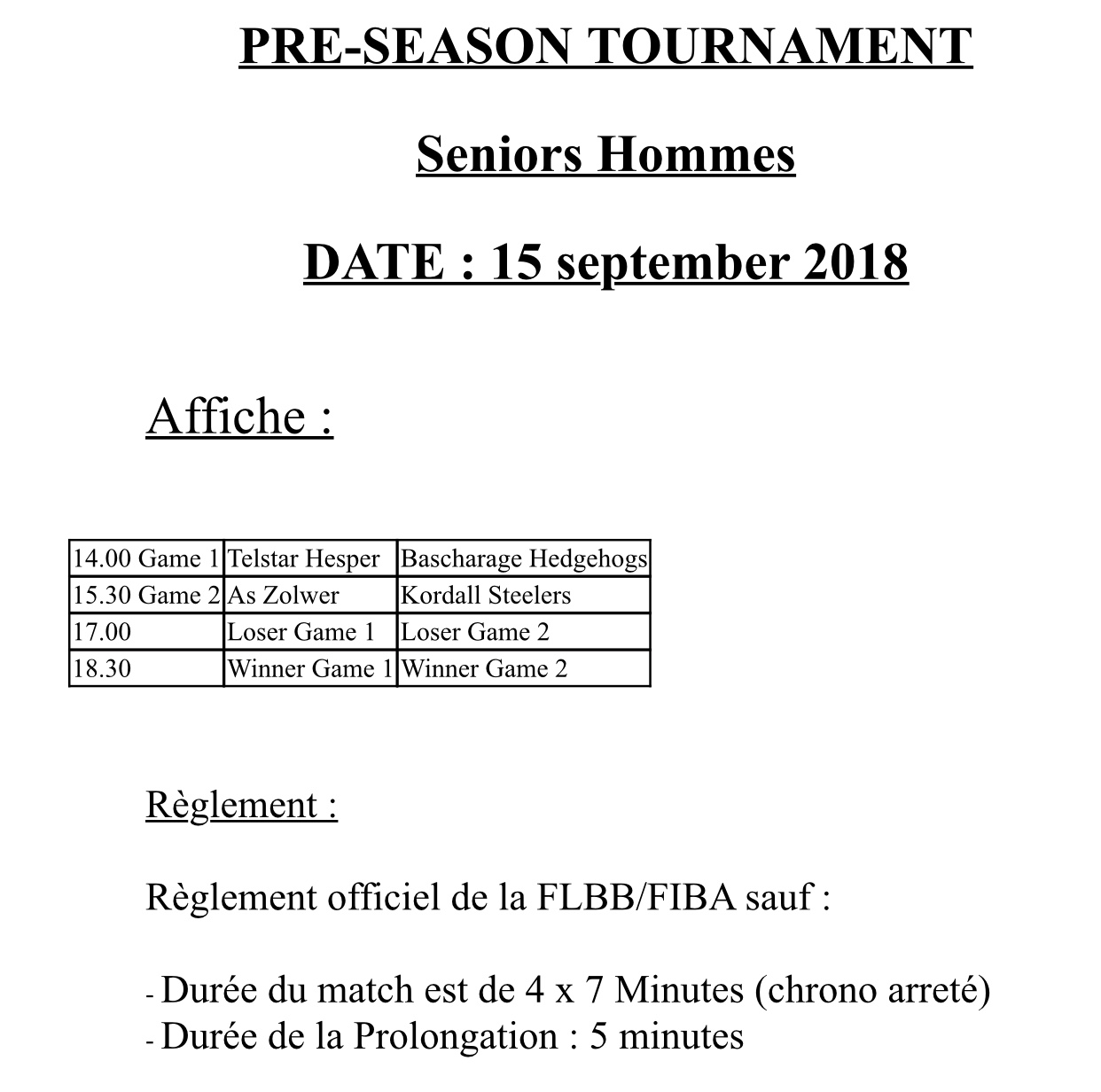 Pre-Season Tournament Seniors Hommes