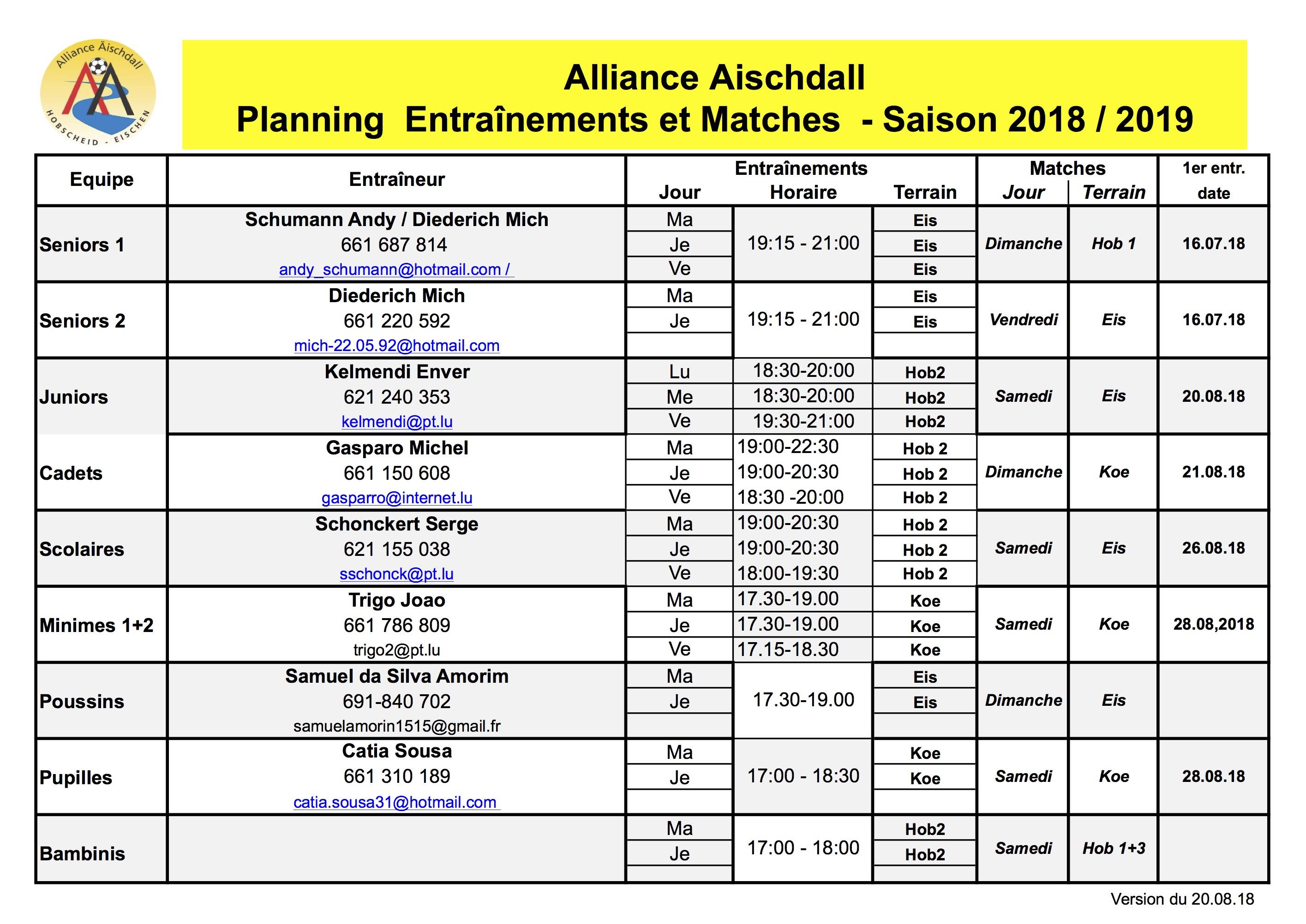 Planning 2018/2019 - An nach emmer op der Sich...