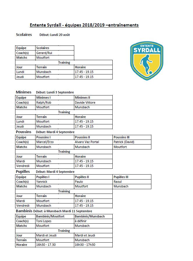 ENTRAINEMENTS ENTENTE SYRDALL 2018/2019