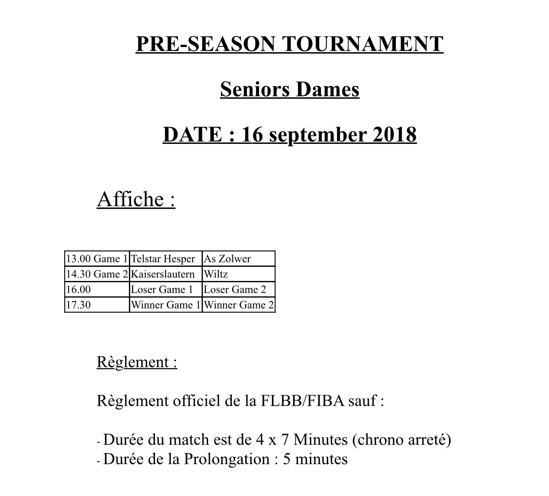 Pre-Season Tournament Seniors Dames