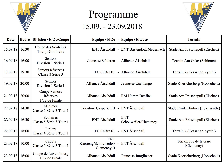 Eisen Programm vum 15. bis 23. September