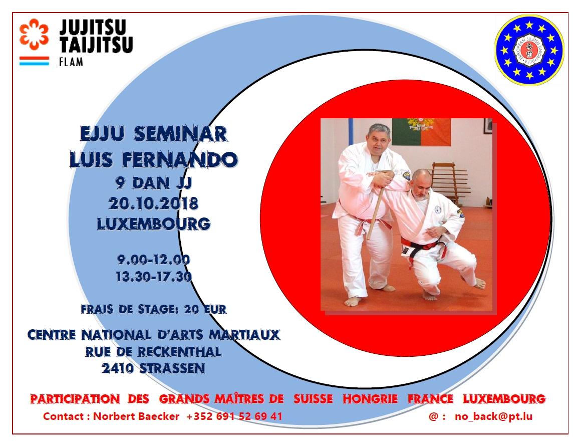 Stage EJJU: 20 octobre à Strassen avec Luis Fernando (9e Dan)