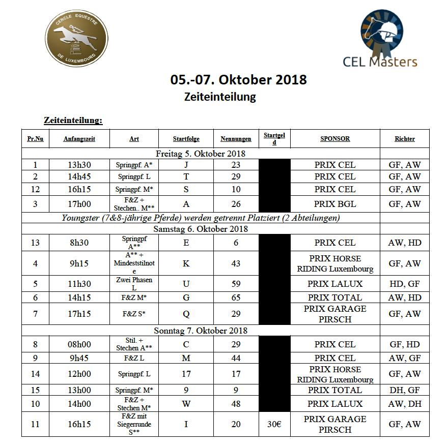 Zeitplang vun den CEL MASTERS vum 05. bis 07. Oktober 2018
