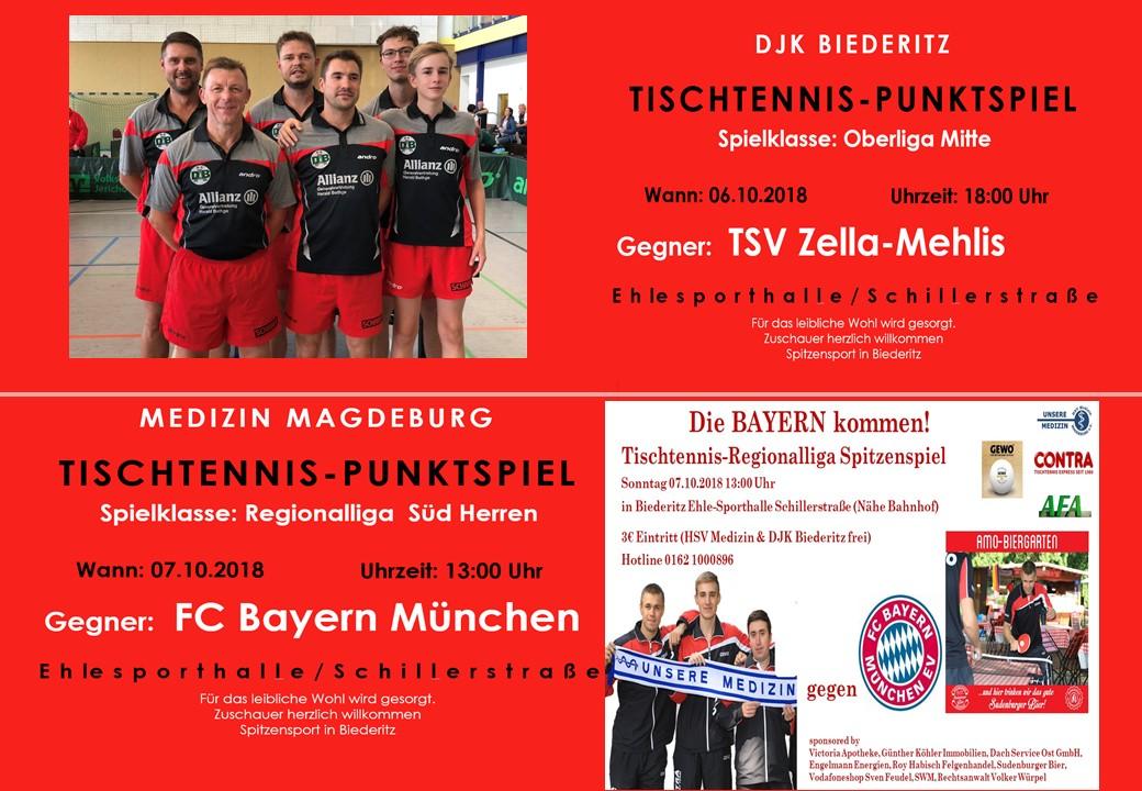 Vorschau Oberliga Mitte und Regionalliga Süd am 06.10. / 07.10.2018