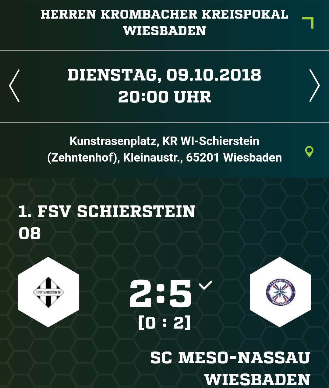1. Mannschaft im Kreispokal eine Runde weiter