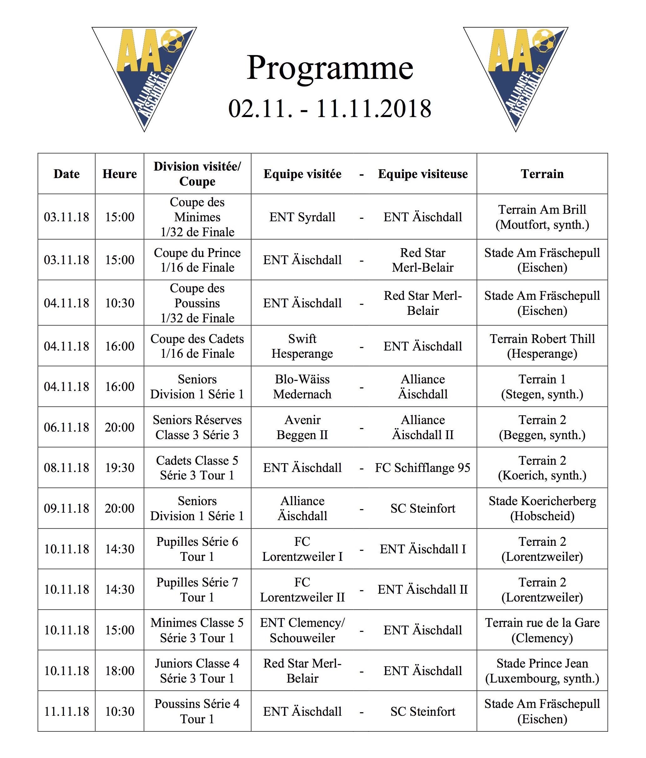 Programm 19.10.-28.10.2018