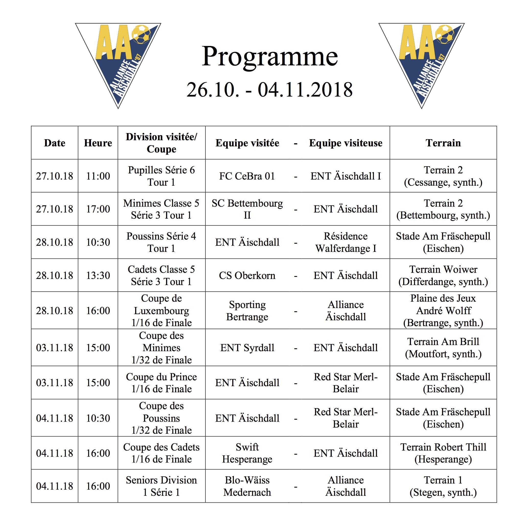 Programm 26.10.-04.11.2018