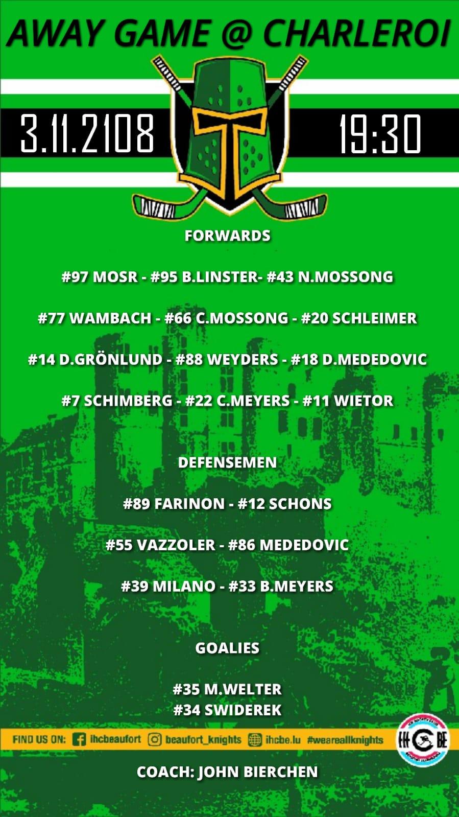 Opstellung vun de Spiller vum Auswärtsmatch géint Charleroi 03/11/2018