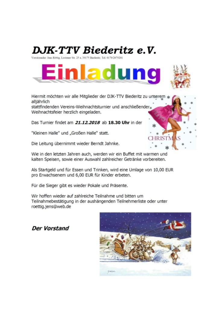 Einladung Weihnachtsfeier Verein.Djk Ttv Biederitz