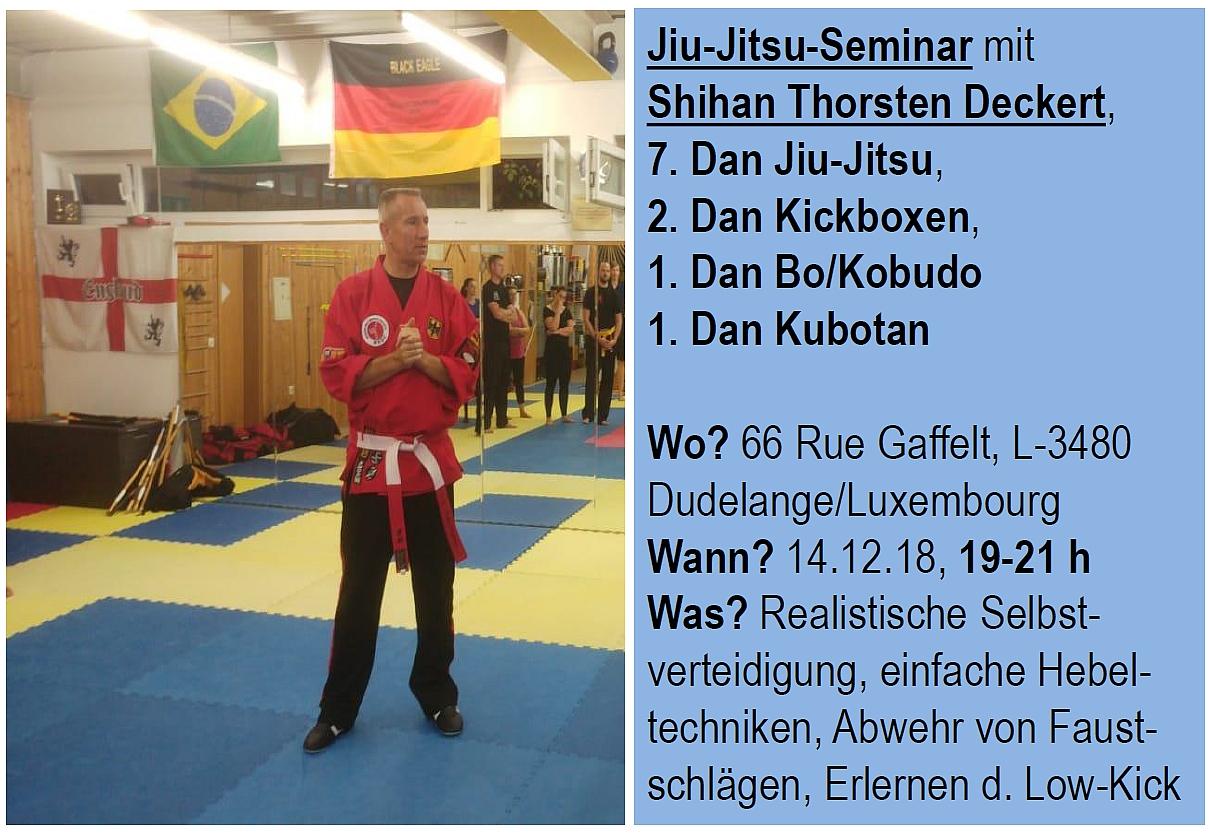 Jiu-Jitsu-Seminar 14. Dezember mit Shihan Thorsten DECKERT