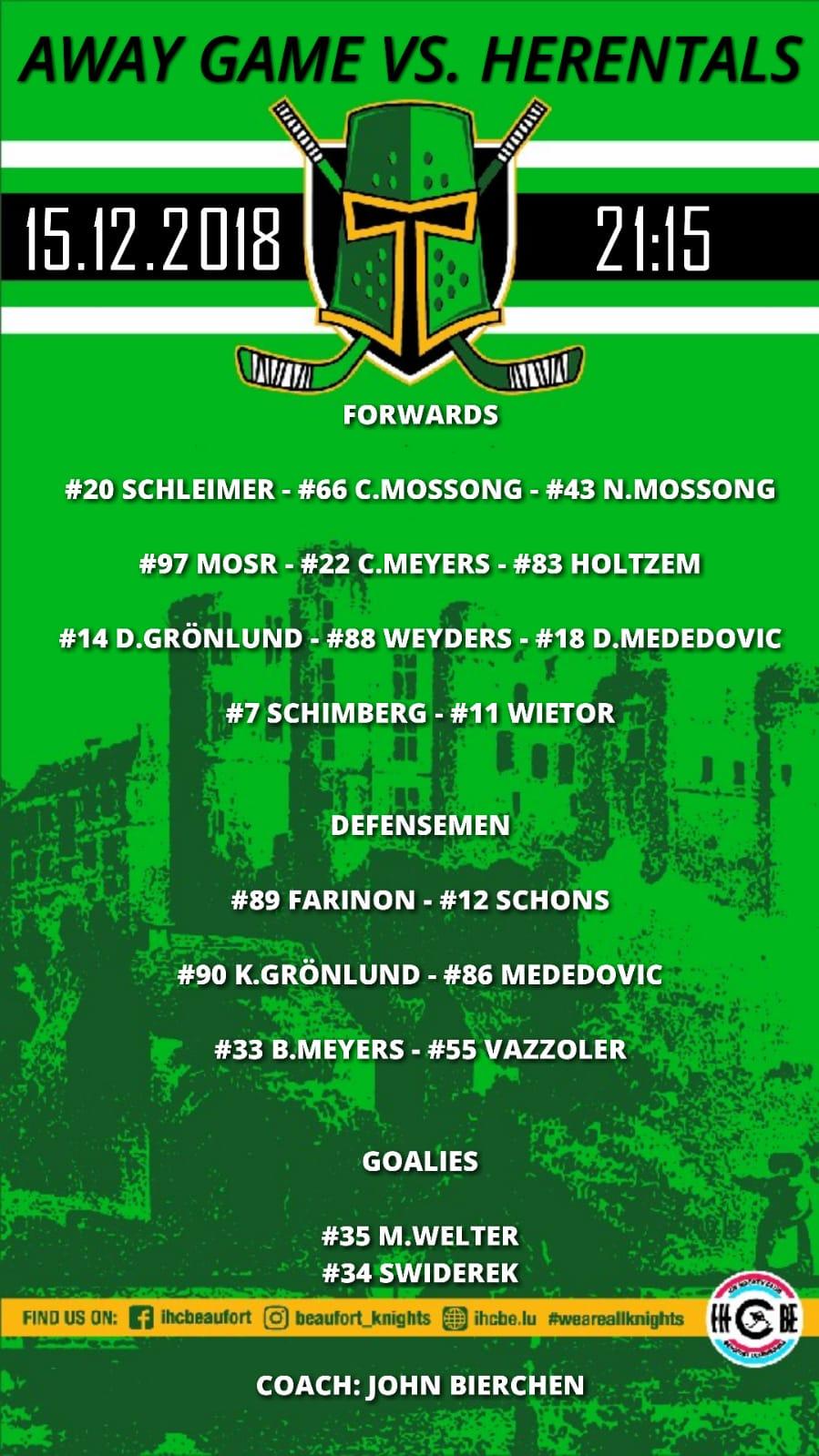 Opstellung vun de Spiller vum Auswärts Match géint Herentals B