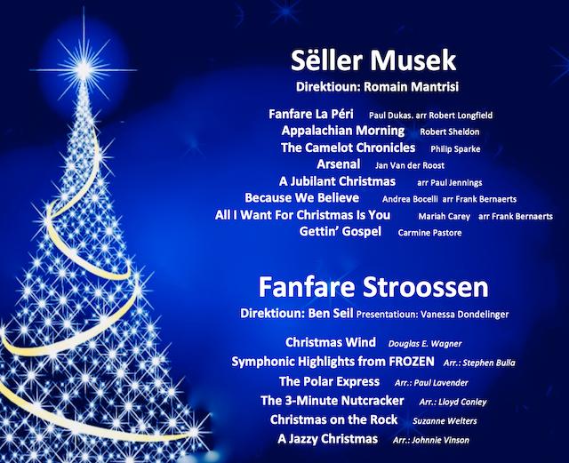 De musikalesche Programm vum Chrëschtconcert