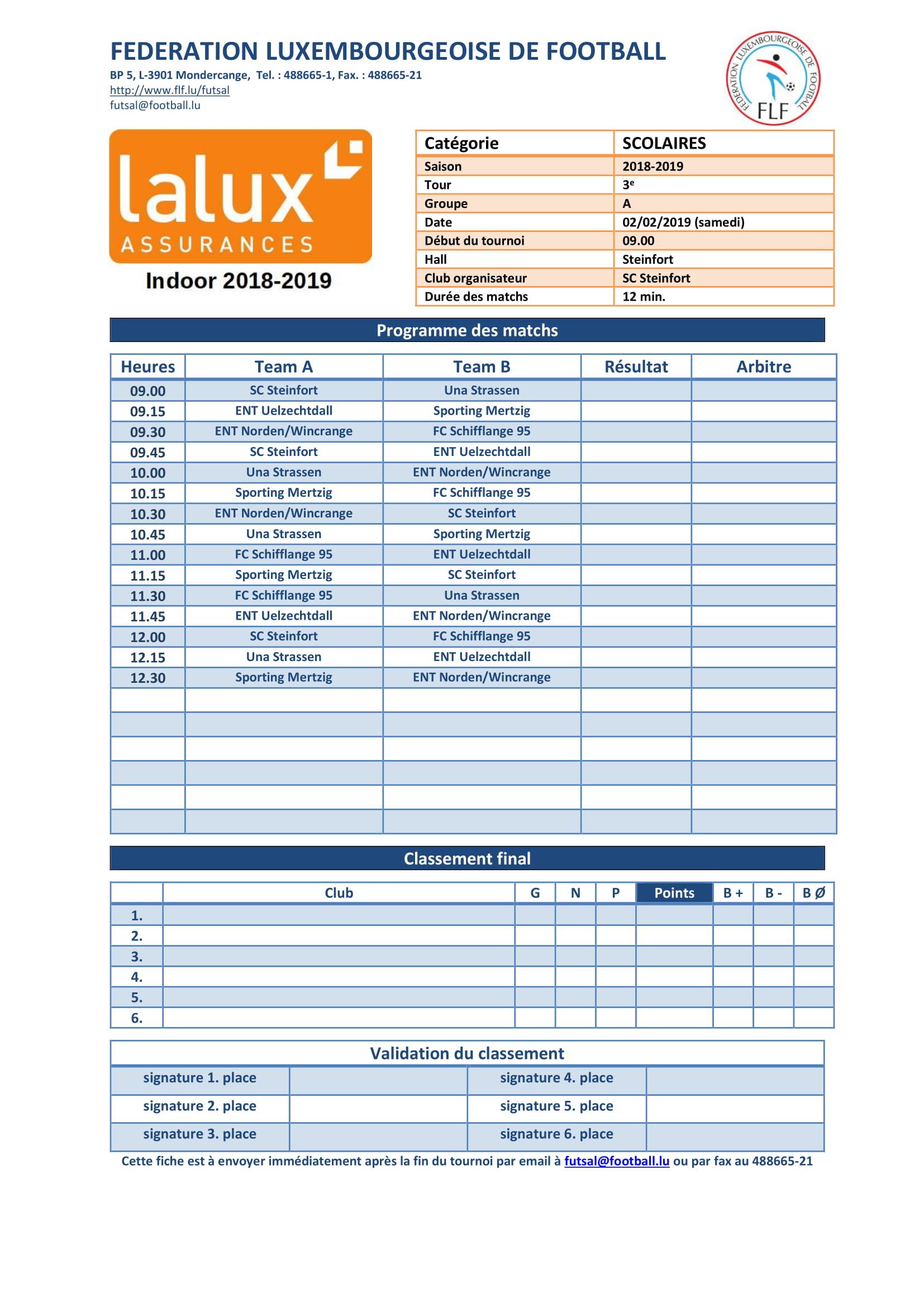 3e tour LaLux Futsal Championnat