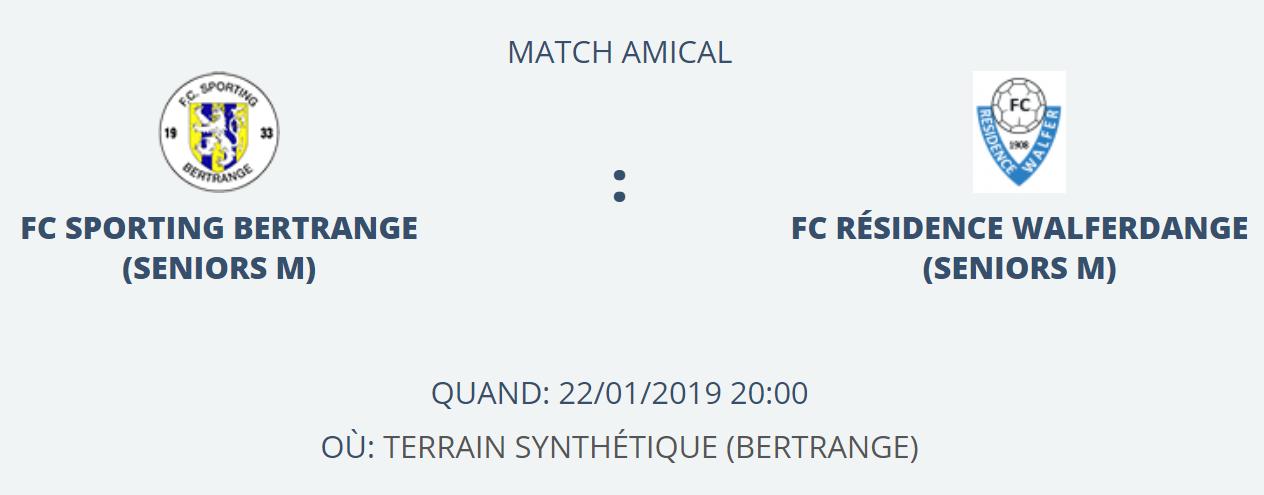 22/01/2019 Match Amical annulé à cause de la neige