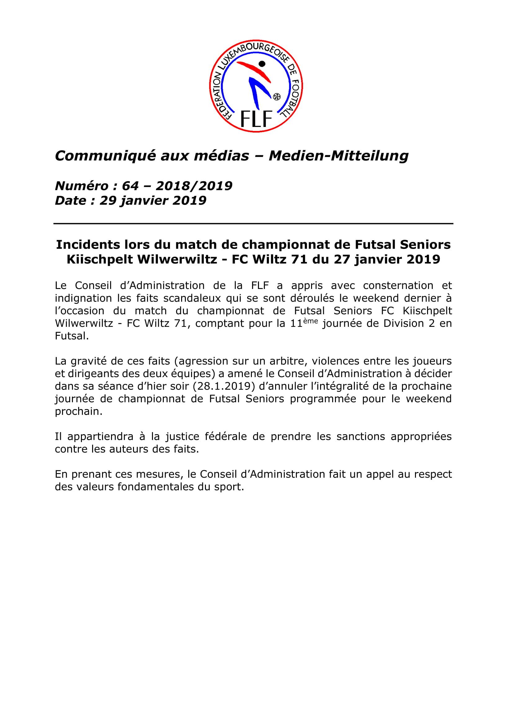 verdict tribunal fédéral - affaire Futsal Wilwerwiltz - Wiltz