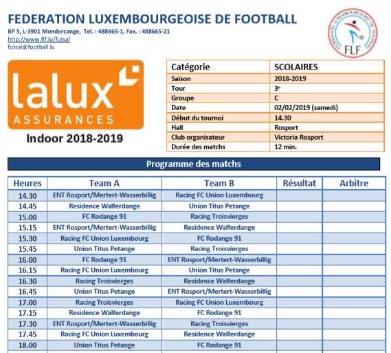 02/02/2019 Scolaire Lalux Indoor CUP 2019