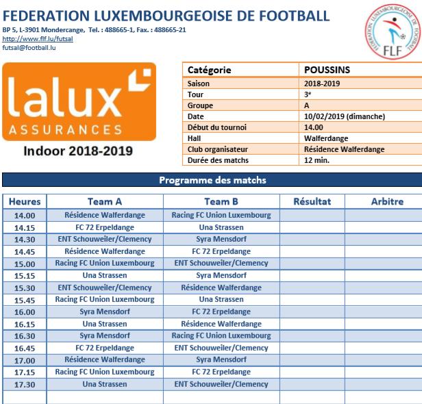 10/02/2019 Poussins Lalux Indoor CUP 2019