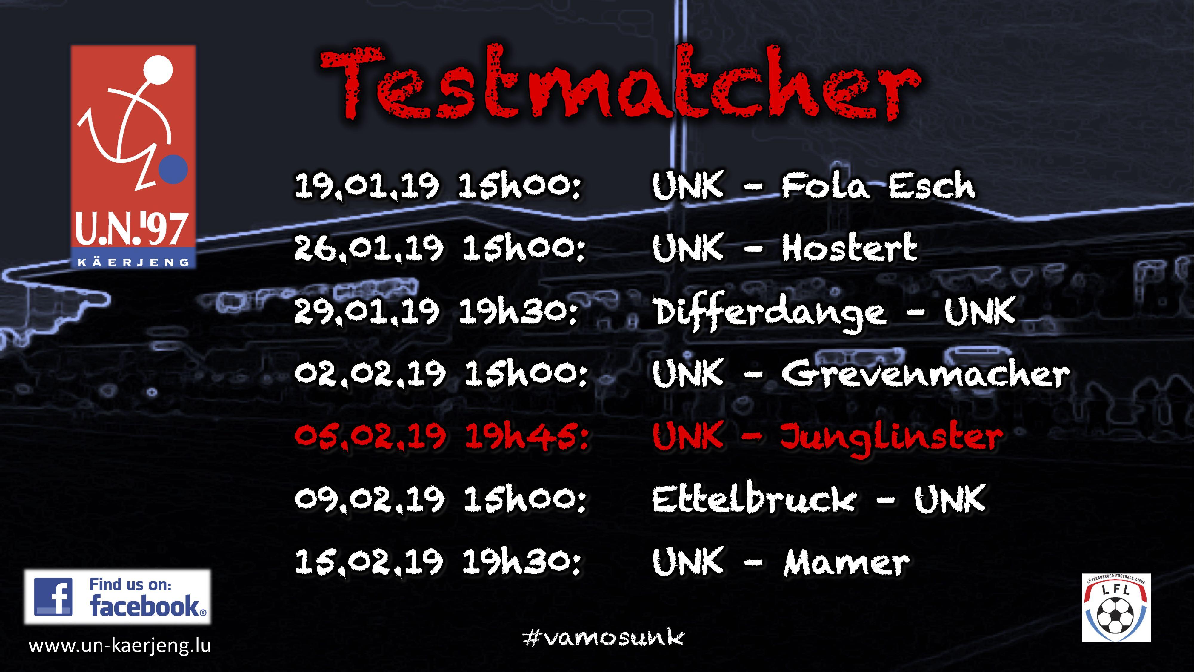 *** Testmatch UNK - Jonglënster zu Käerjeng ***