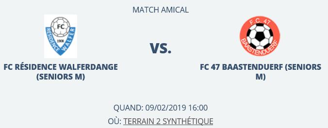 09/02/2019 Match amical 16h00 à Walferdange