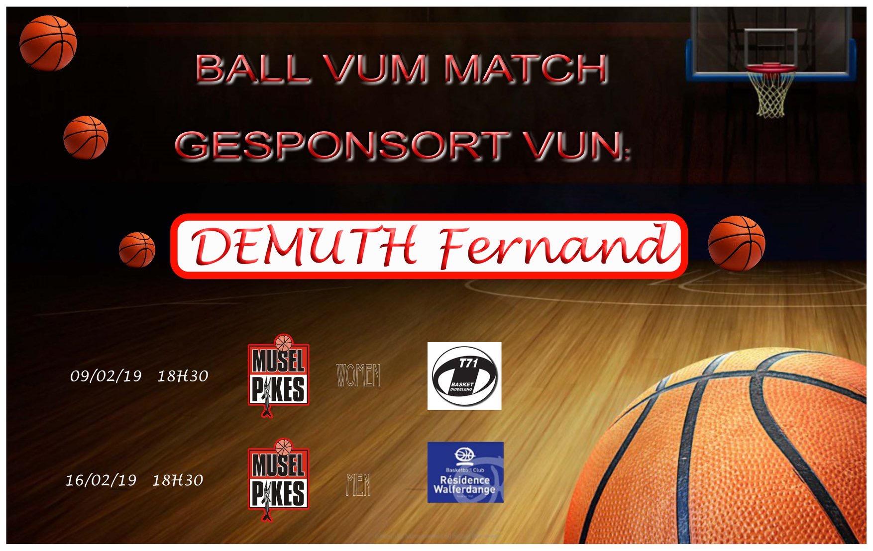 Ball vum Match offréiert vum Demuth Fernand