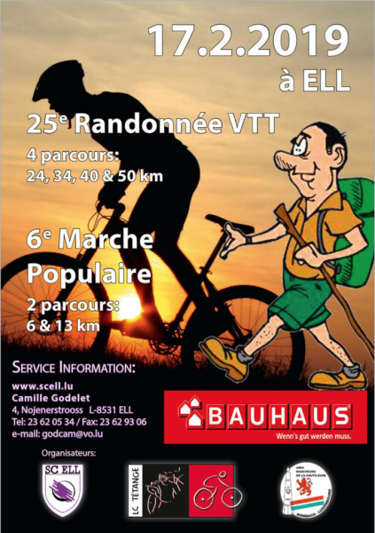 25e  Randonnée  VTT et  6e Marche Populaire à ELL le 17.02.2019