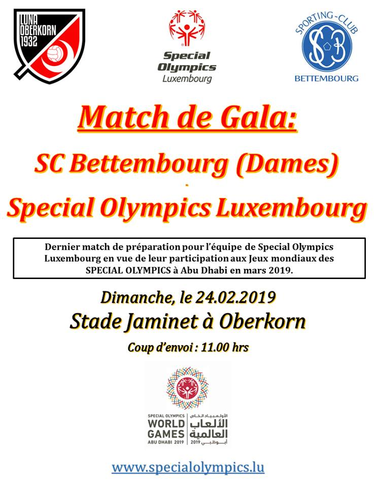 GALAMATCH OP DER LUNA 24.02.2019 11h00 S.C. Bettembourg Dames-Special Olympics Luxembourg