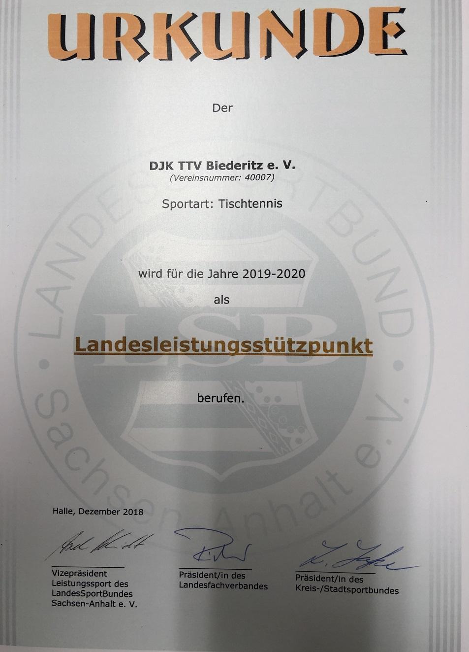 DJK TTV Biederitz verlängert TTVSA Landesleistungsstützpunktstatus für die Jahre 2019+2020