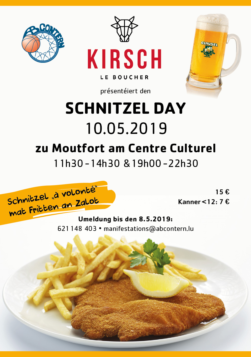 Schnitzel - Day  ALL you can eat  -  Save the date  10 May 2019  Metes an Owes