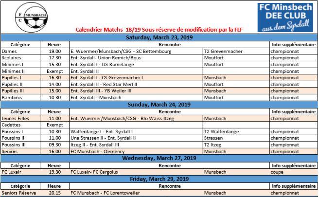 Match 23/03 - 29/03