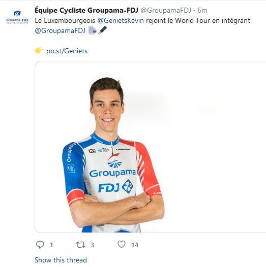 Kevin Geniets an der World-Tour Equipe vu GroupamaFDJ