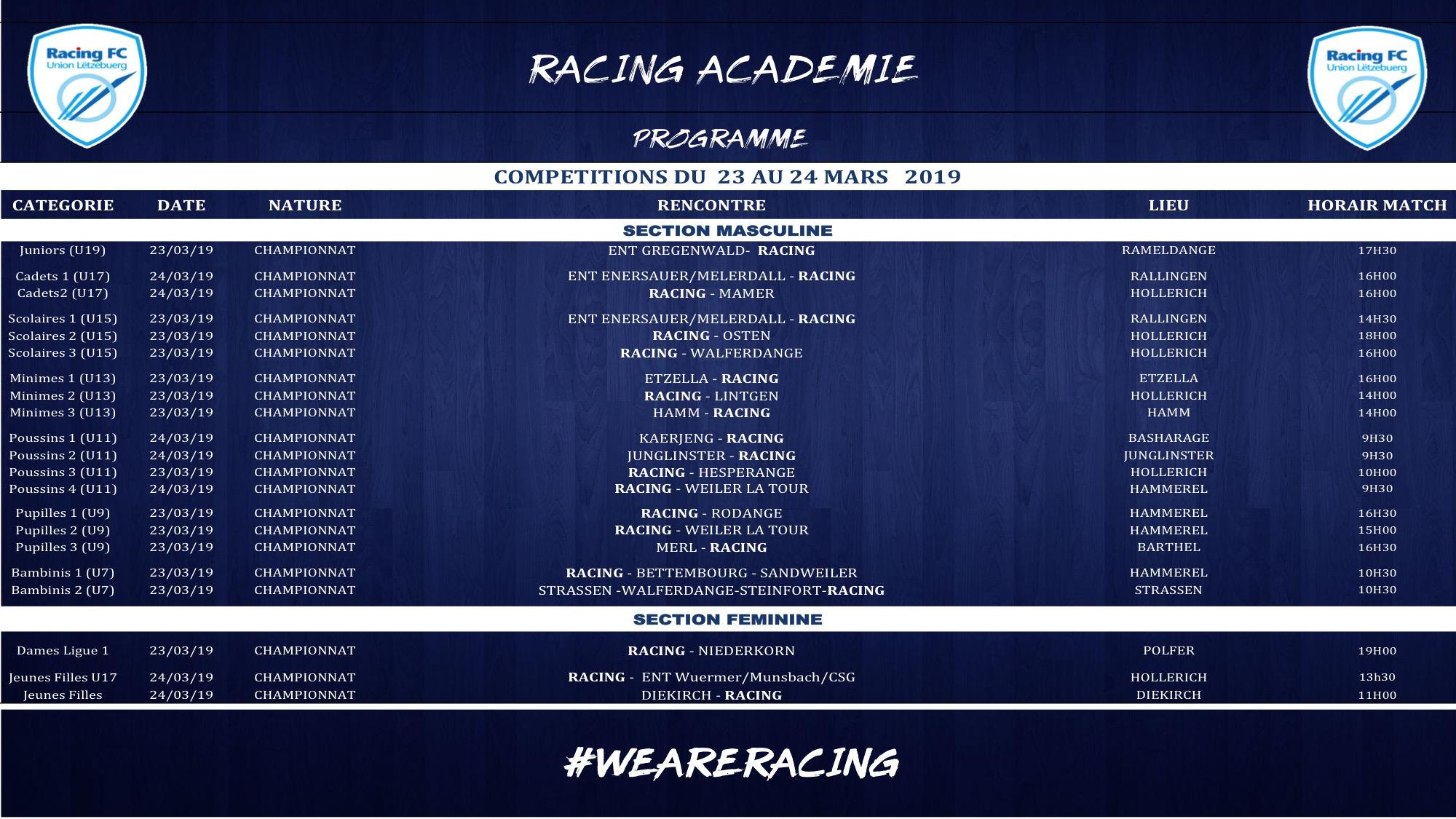 Programme match RACING ACADEMIE 23-24 mars 2019