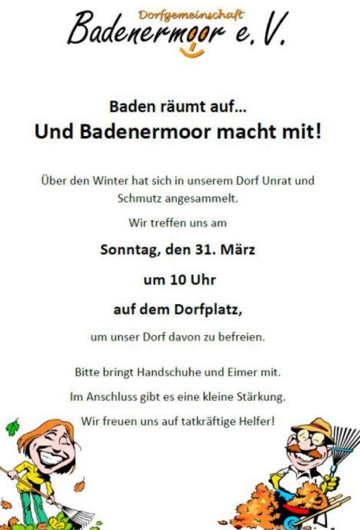 News zum  Dorfverein Badenermoor