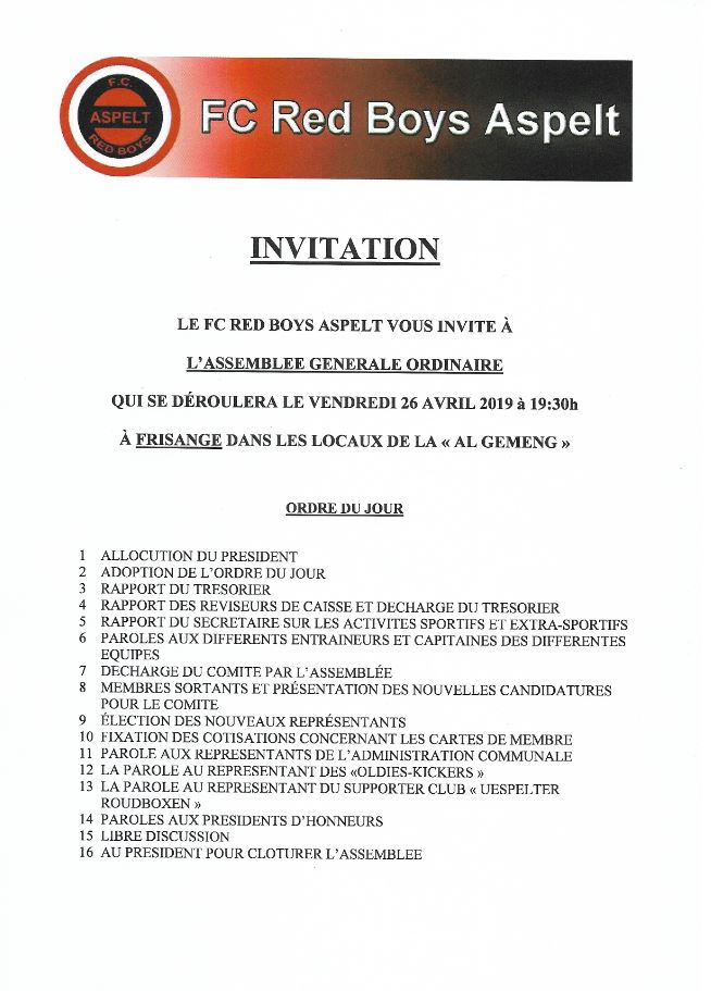 Assemblée Générale den 26 Abrëll 2019 um 19:30 zu Fréiseng an der