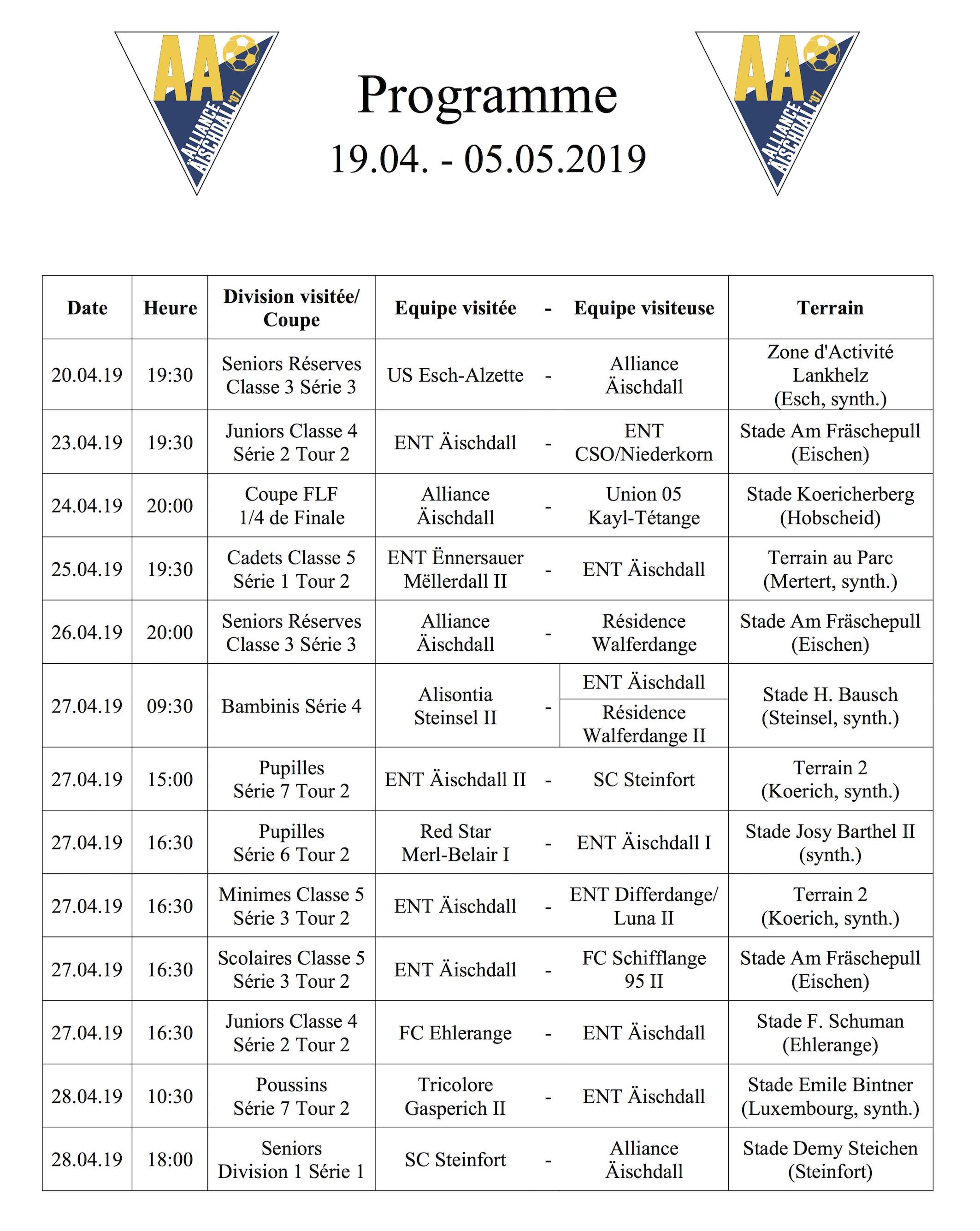 Programm 19.04.-05.05.2019