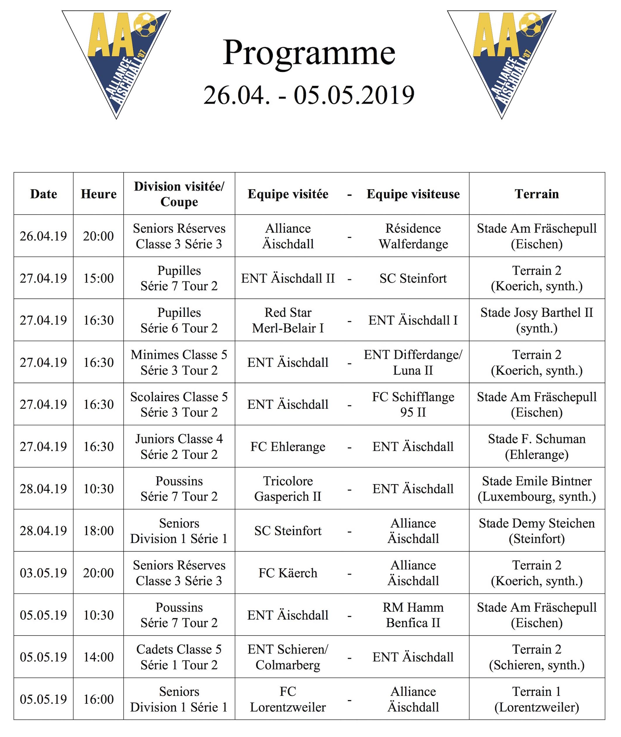 Programm 26.04.-05.05.2019