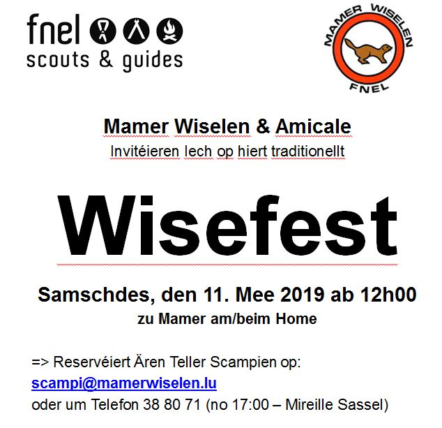 MAMER WISELEN:  WISEFEST 2019, den 11 Mee 2019