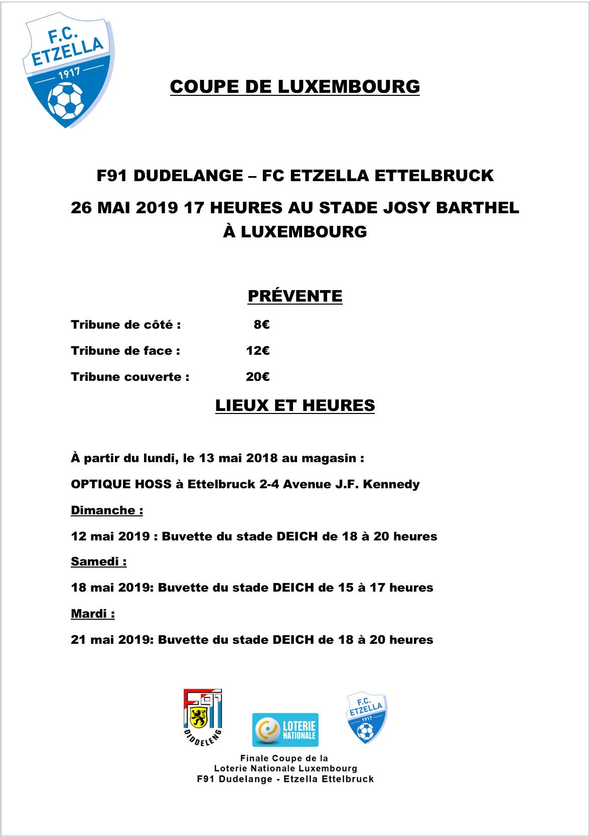 Informatiounen zum Vierverkaaf vun den Ticket'en fir d'Final vun der Coupe de Luxembourg!