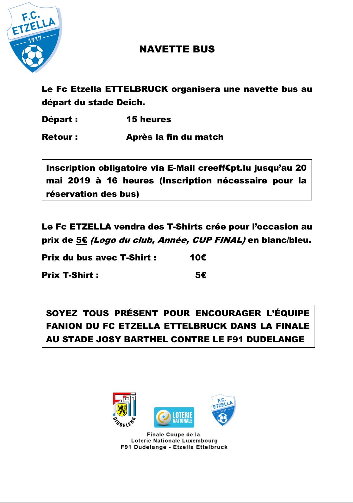 Den Fc Etzella organiséiert eng Navette fir an de Josy Barthel: