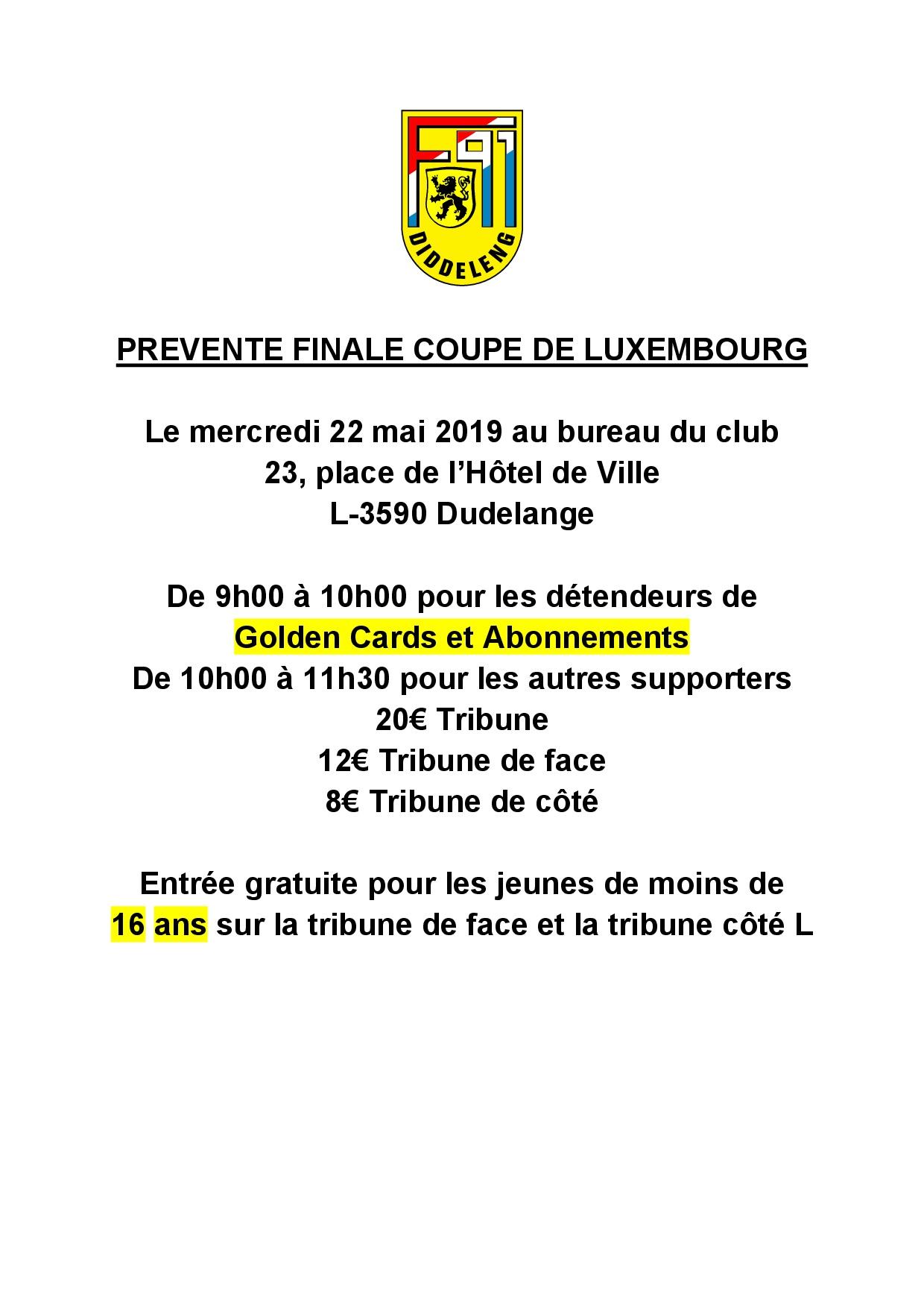 PREVENTE FINALE COUPE DE LUXEMBOURG