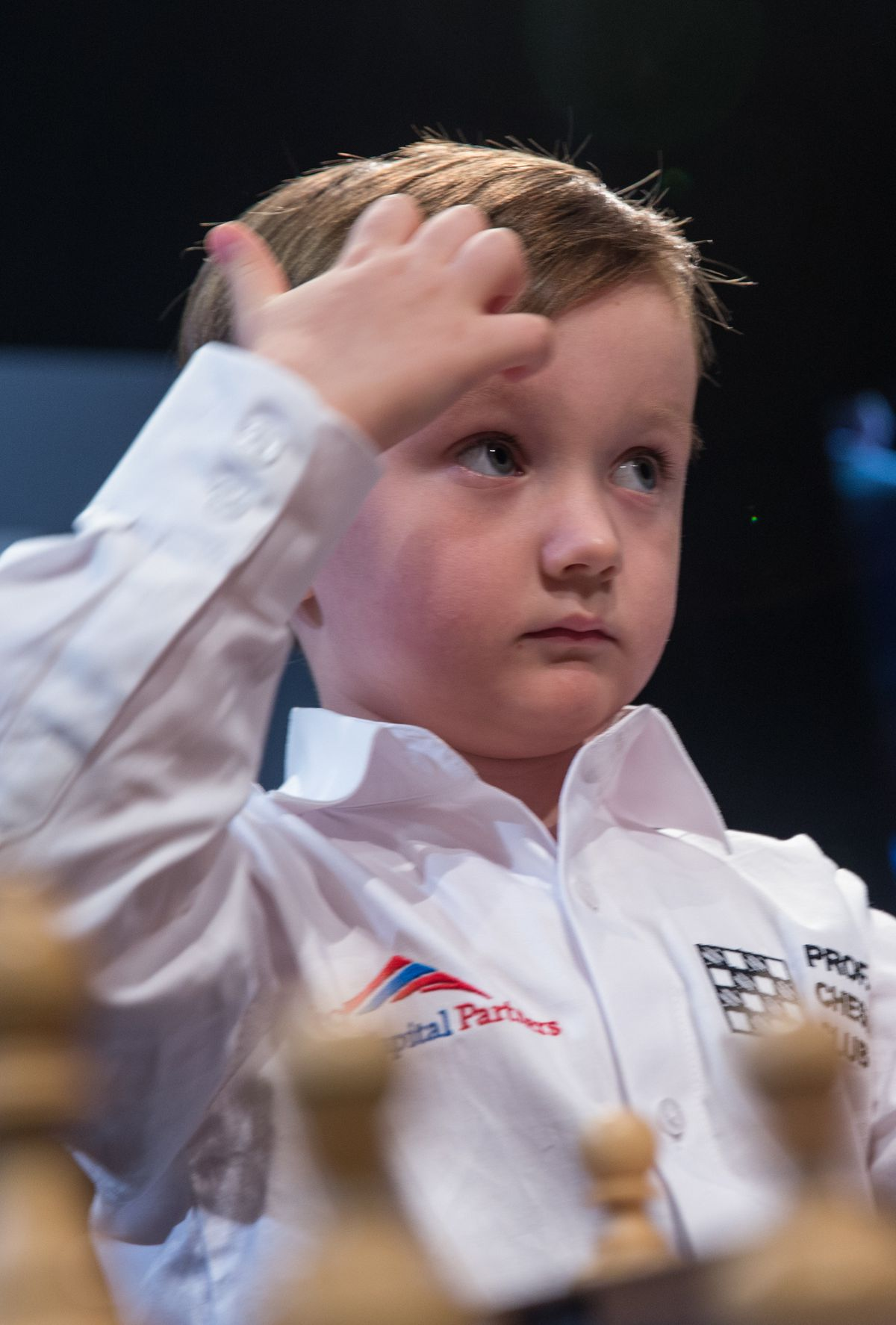 3.5 year old boy playing chess