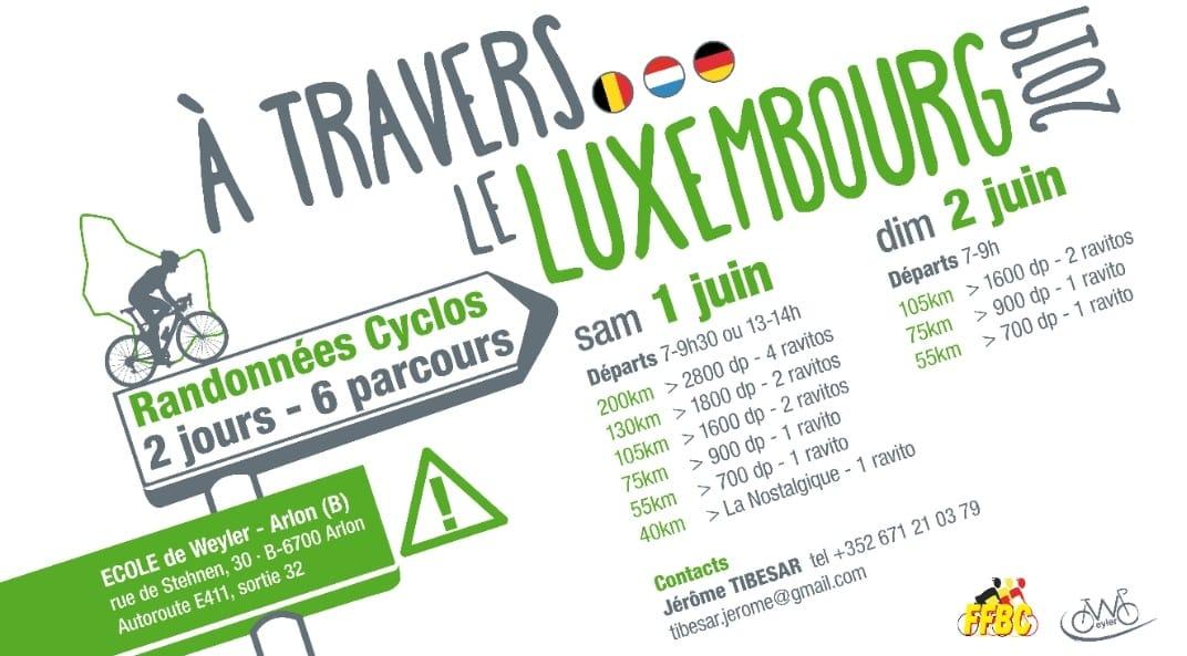Randonnées cyclos à travers le Luxembourg  le 1 et 2 juin 2019