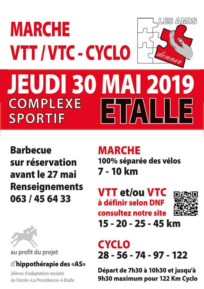 Marche, VTT et Cyclo à Etalle le 30 mai 2019 au profit du projet