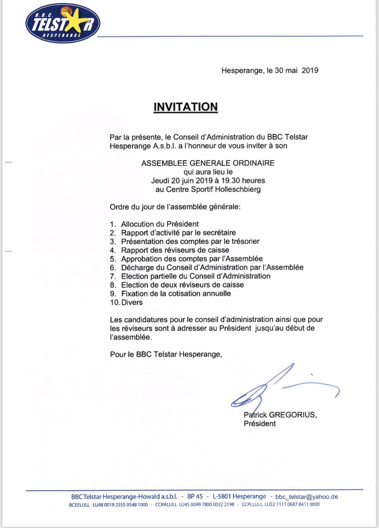 Invitatioun Assemblée Générale