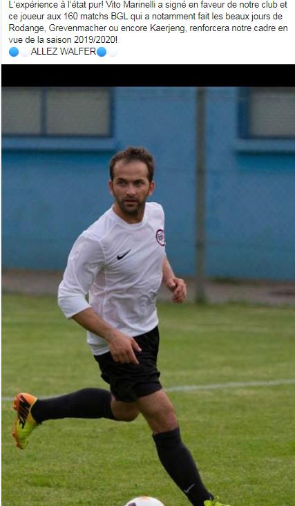 14/06/2019 Nouveau transfert 2019/2020 Vito Marinelli