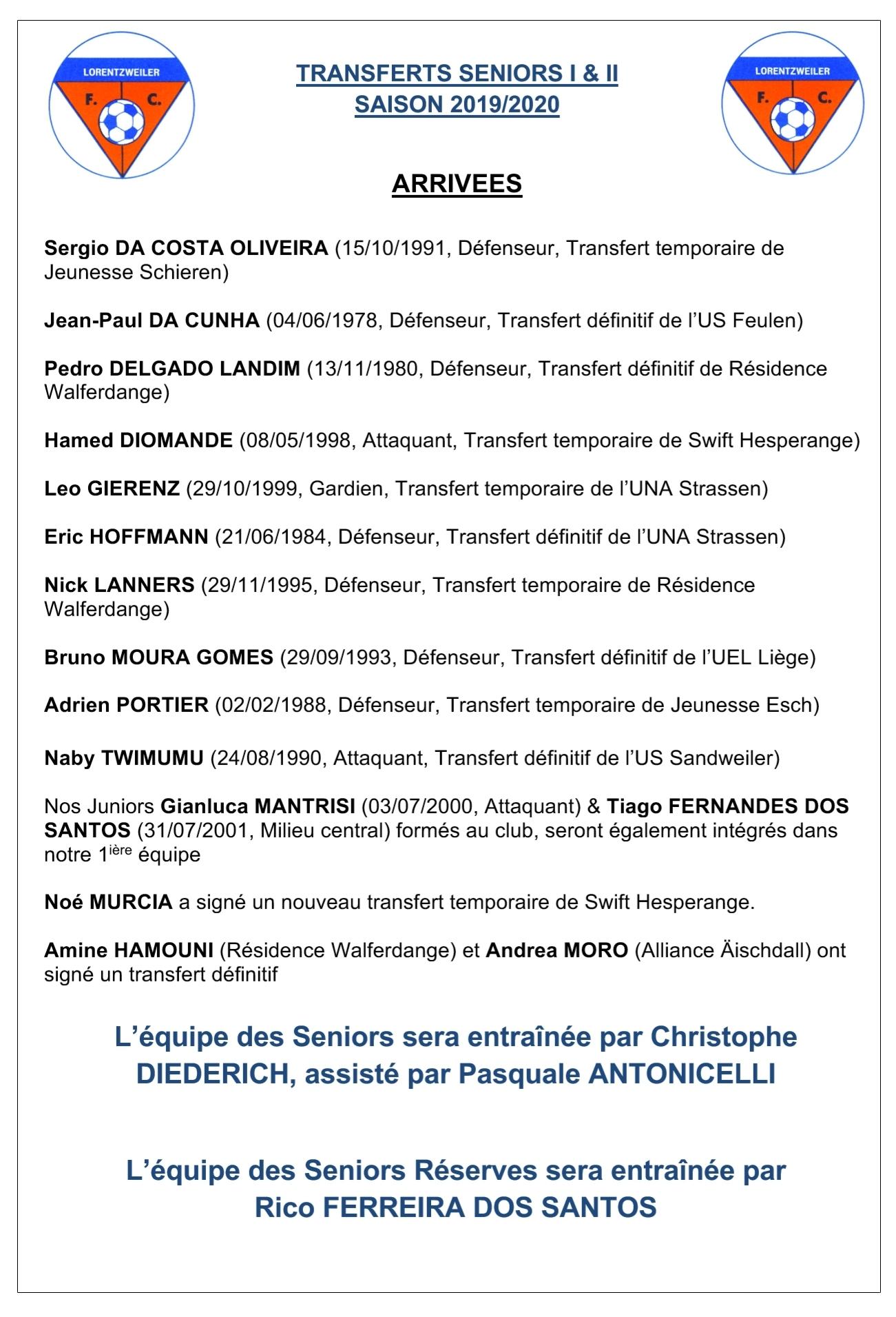 Transferts Seniors - Saison 2019/2020