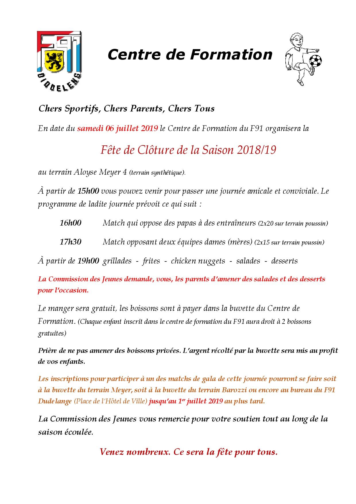 Centre de Formation - Fête de fin Saison 2018/2019
