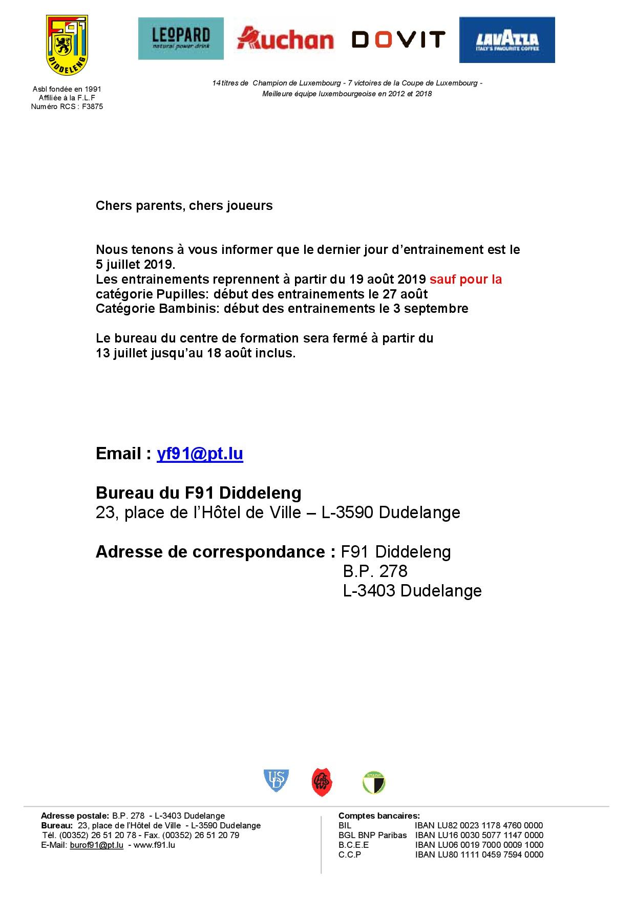 Centre de Formation - Organisation Saison 2019/2020