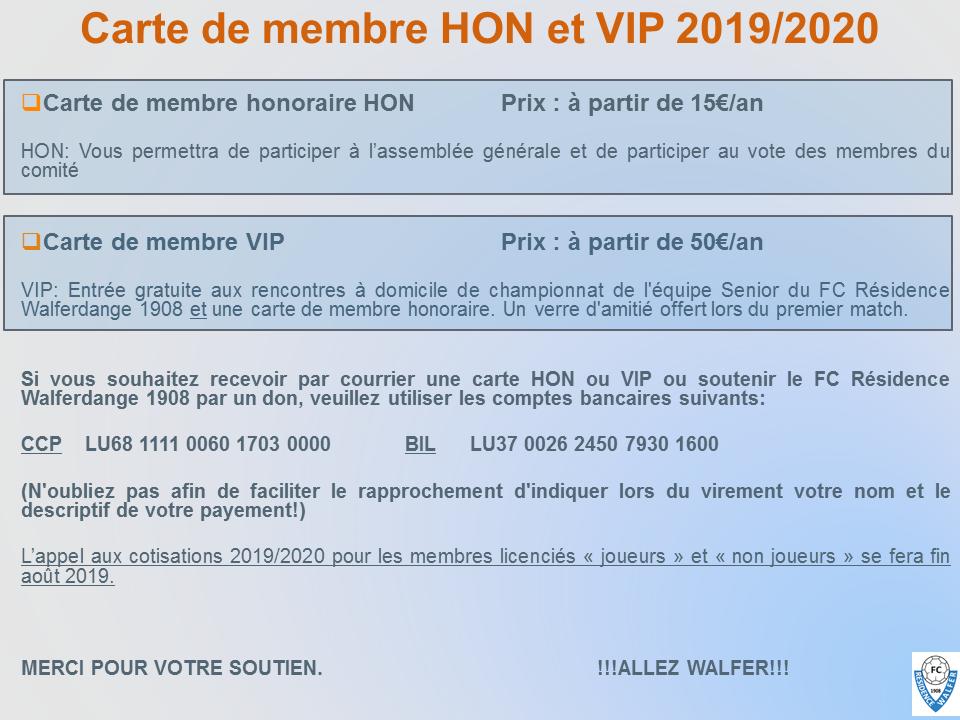 12/07/2019 Appel à cotisation carte de membres honoraires ou VIP 2019/2020